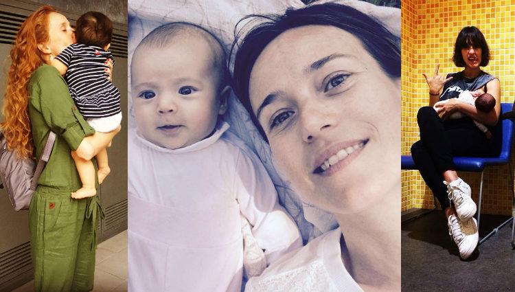 Las actrices María Castro, Marta Etura y Megan Montaner con sus hijos   Instagram