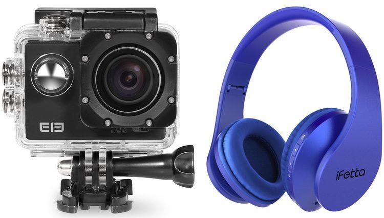 Cámara fotográfica y auriculares inalámbricos