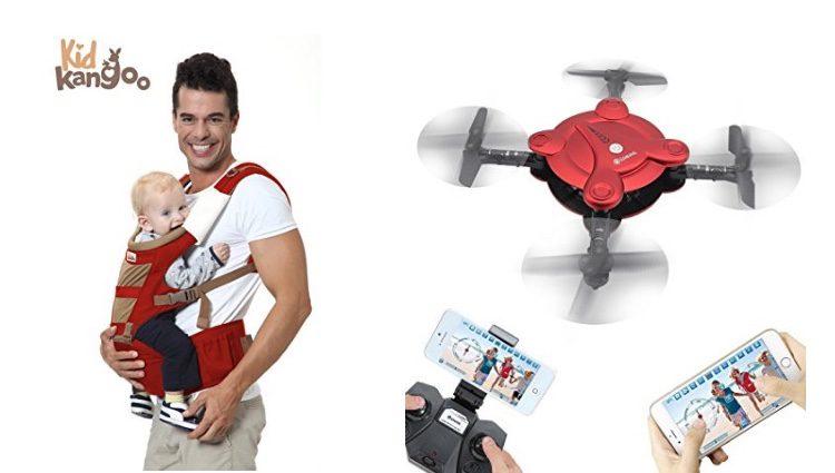Mochila portabebés y cuadricóptero