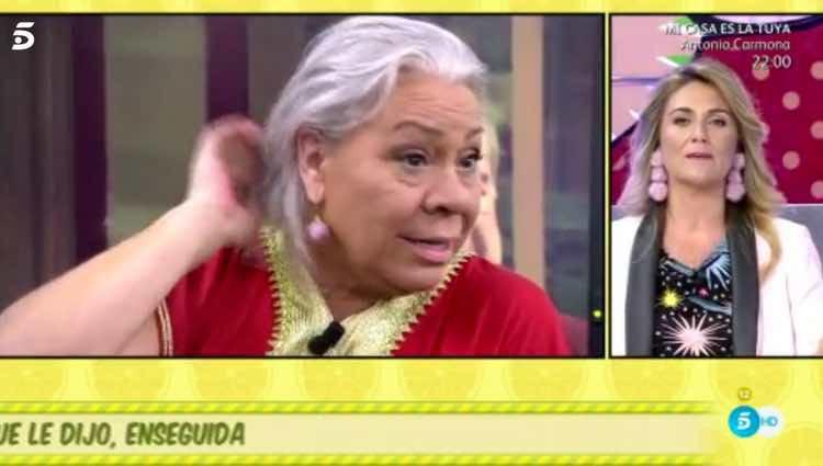 Carlota Corredera saludando a Carmen Gahona antes del ataque / Telecinco.es