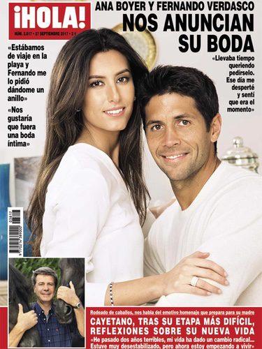 Ana Boyer y Fernando Verdasco anunciando su boda