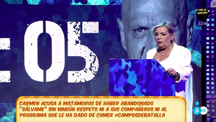 Carmen Borrego en su debut como colaboradora de 'Sávame'   Fuente: Telecinco