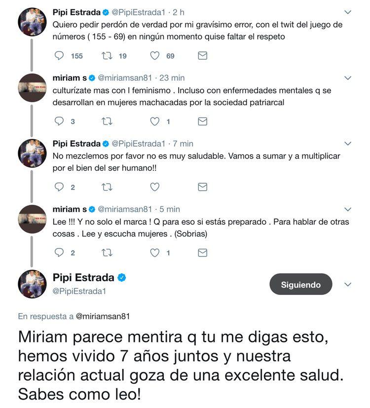 Discusión de Pipi Estrada y Miriam Sánchez en Twitter