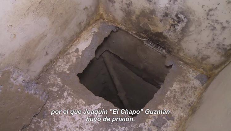 Inicio del túnel por el que escapó el Chapo