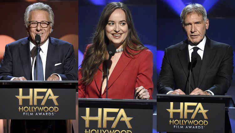 Dustin Hoffman, Dakota Johnson y Harrison Ford en la gala
