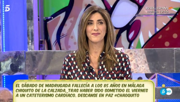 Paz Padilla hundida en 'Sálvame' por la muerte de su amigo íntimo.   Fuente: Telecinco