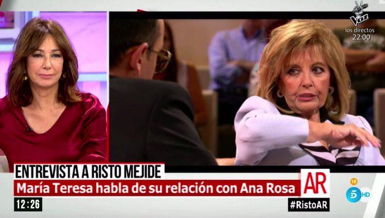 Ana Rosa Quintana responde a los comentarios de Mª Teresa Campos en su programa