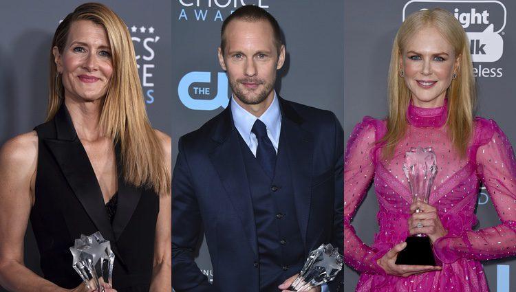 Laura Dern, Alexander Skarsgård y Nicole Kidman con sus premios