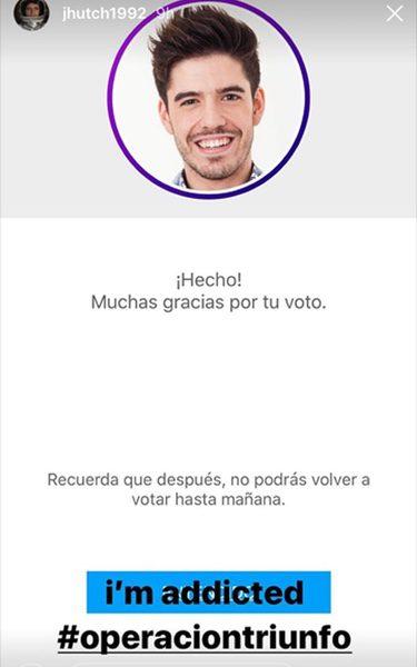 La votación de Hutcherson a favor de Roi/ Fuente: Instagram