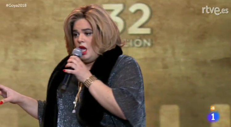 Paquita Salas durante su monólogo en los Goya 2018