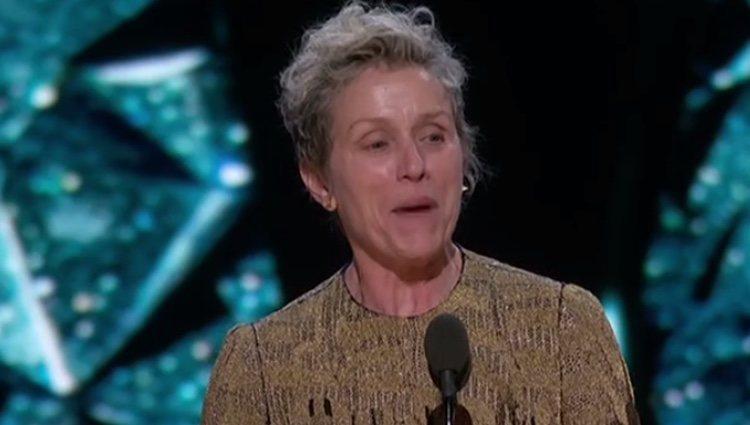 Frances McDormand pronunciando su discurso