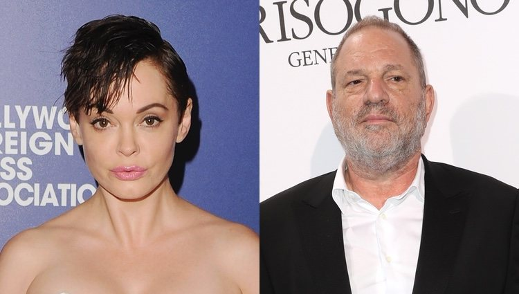 Rose McGowan y Harvey Weinstein, quien abusó de ella en 1997