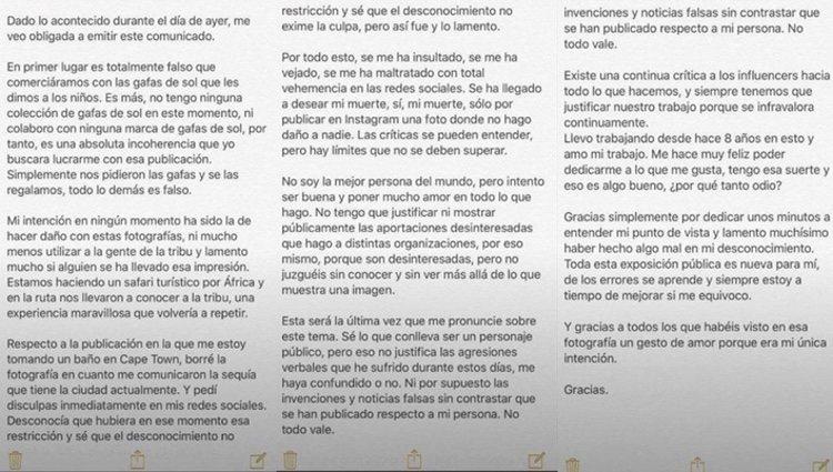 La influencer pide disculpas tras su polémico viaje | Fuente: Instagram Dulceida