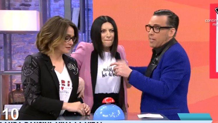 Laura Pausini junto a Torito y Toñi Moreno Foto: Mediaset