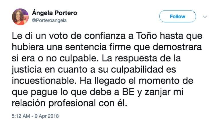 Ángela Portero confiesa en Twitter que deja de apoyar a Toño Sanchís