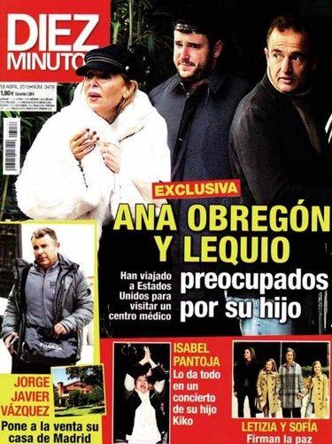 Ana Obregón y Alessandro Lequio con su hijo en la portada de Diez Minutos