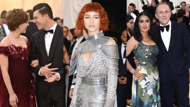 Scarlett Johansson y su chico, Zendaya y Salma Hayek con su marido en la MET Gala 2018