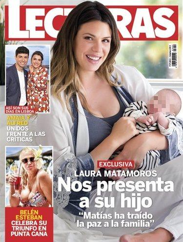 Laura Matamoros presenta a su hijo en la portada de Lecturas