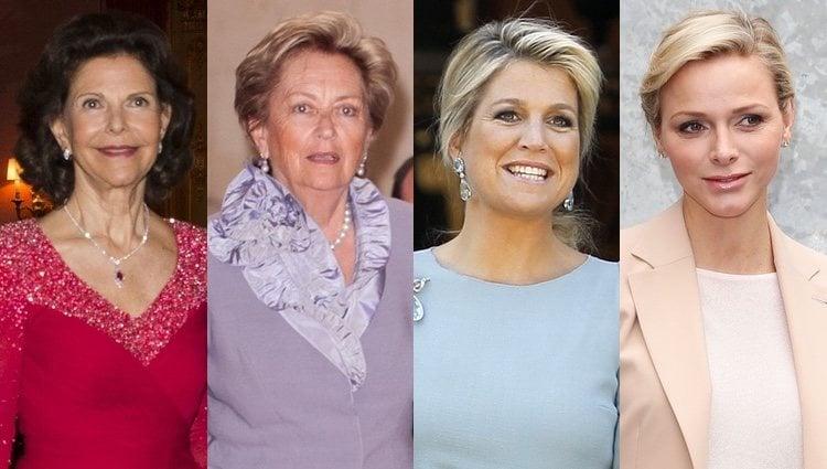 De izquierda a derecha: Silvia de Suecia, Paola de Bélgica, Máxima de Holanda y Charlene de Mónaco