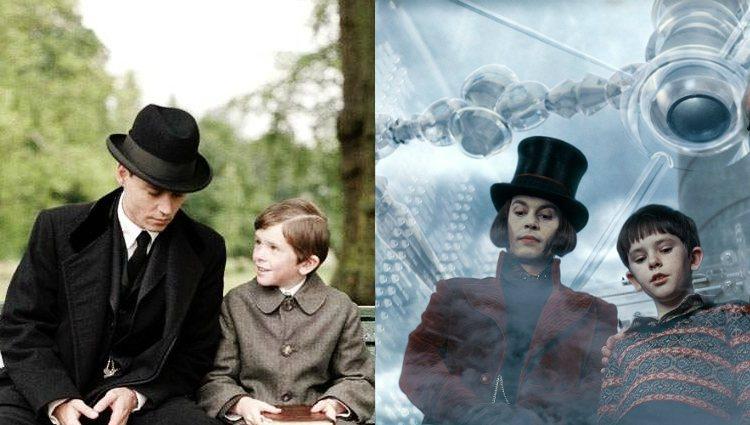 Freddie Highmore con Johnny Depp en 'Finding Neverland' y en 'Charlie y la fábrica de chocolate'