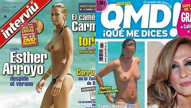 Esther Arroyo y Gemma Mengual en topless / Interviú y ¡Qué me dices