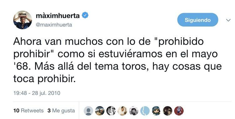 Un tuit de Màxim Huerta que habla de toros
