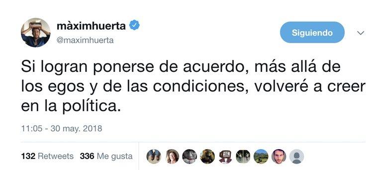 Uno de los último tuits de Màxim Huerta
