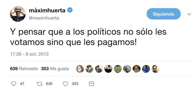Tuit criticando el sueldo de los políticos