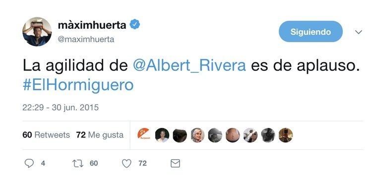 Màxim Huerta dando su opinión sobre Albert Rivera