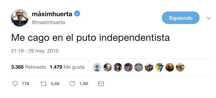 Màxim Huerta mostrando su opinión sobre la Independencia de Cataluña