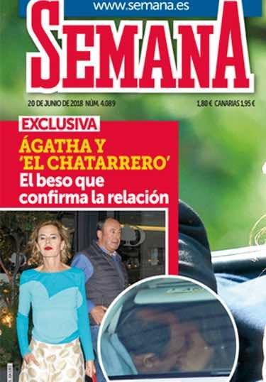 Ágatha Ruiz de la Prada y El Chatarrero besándose / Semana