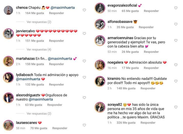 Algunos de los mensajes que ha recibido Màxim Huerta de rostros conocidos/ Fuente: Instagram