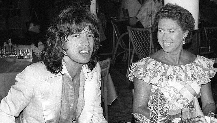 Mick Jagger junto a la Princesa Margarita en una fiesta