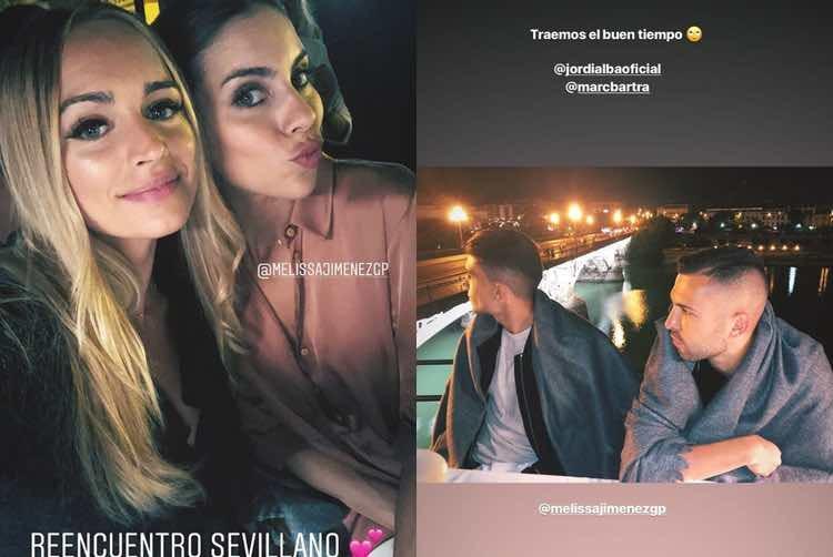 El reencuentro de las dos parejas en Sevilla / Instagram Stories