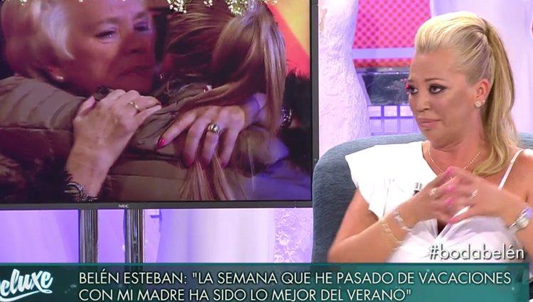 Belén Esteban no pudo contener la emoción durante la entrevista / FOTO: telecinco.es
