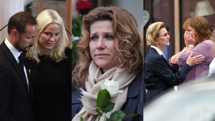 La Familia Real Noruega en diferentes momentos tras los atentados de Oslo y Utoya