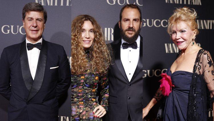 Cayetano Martínez, Blanca Cuesta, Borja y la Baronesa Thyssen en l alfombra roja