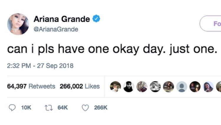 Uno de los tuits de Ariana Grande | Foto: Twitter Ariana Grande