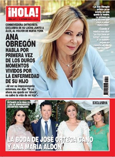 Ana Obregón en la portada de ¡Hola! hablando de la enfermedad de su hijo