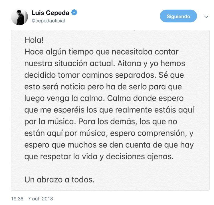 El texto de Cepeda en Twitter