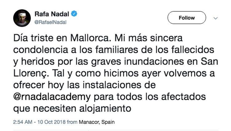 Comunicado Rafa Nadal tras las inundaciones | Foto: Twitter Rafa Nadal