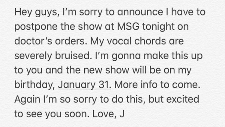 El comunicado de Justin Timberlake sobre su concierto cancelado | Foto: Instagram Justin Timberlake