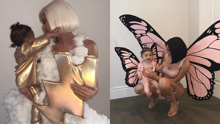 Kylie Jenner y Stormy disfrazadas de tormeta y de mariposas / Fotos: Instagram