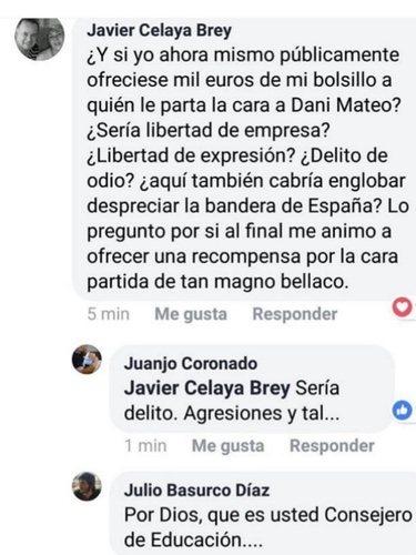 Publicación de Javier Celaya en Facebook / Foto: Facebook Javier Celaya