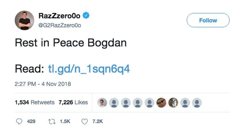 La despedida pública del compañero de equipo de Bogdan | Foto: Twitter 'RazZzero0o'
