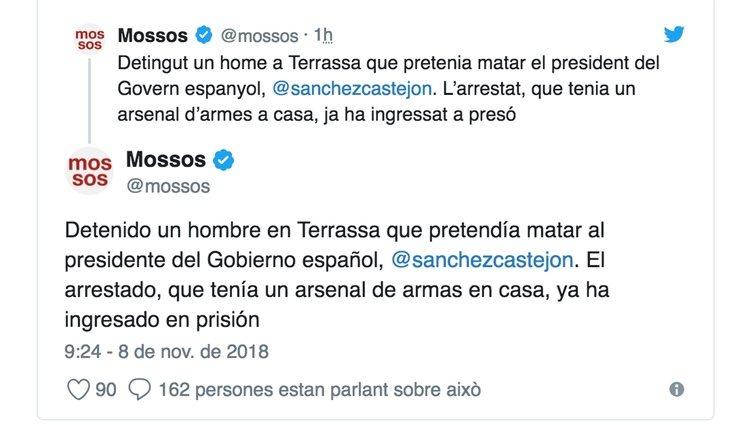 Los Mossos confirman la detención del francotirador   Foto: Twitter Mossos d'Esquadra