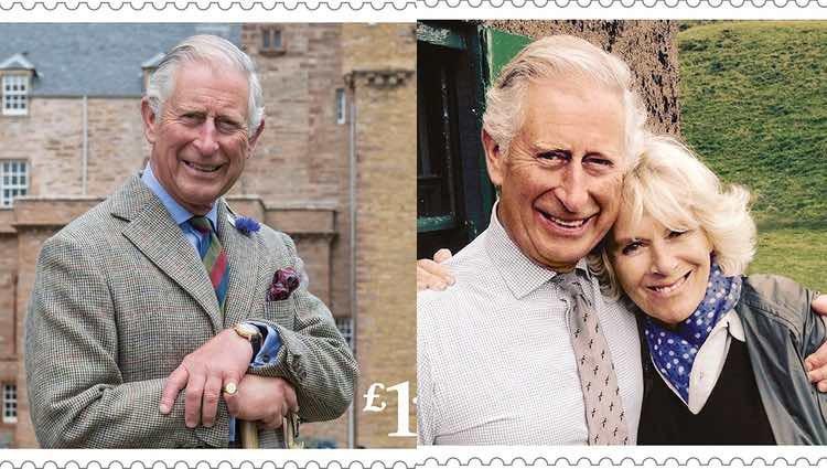 Dos de los sellos conmemorativos por el 70 cumpleaños del Príncipe Carlos