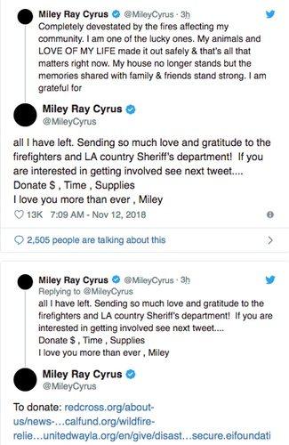Publicación de Miley Cyrus / Foto: Twitter