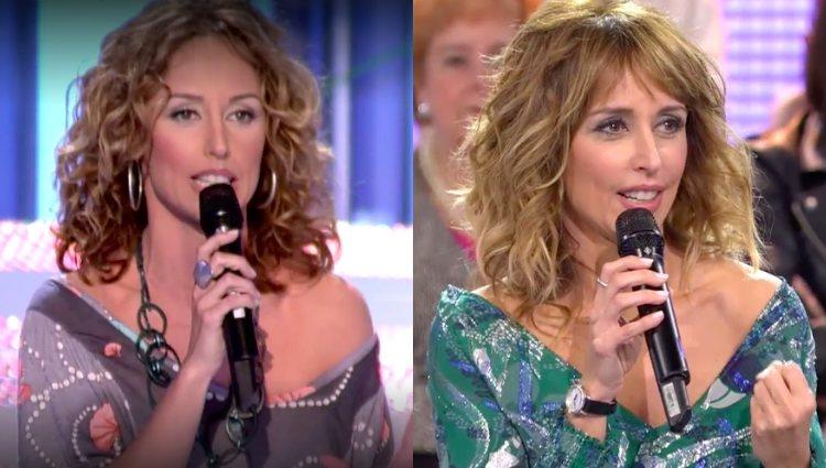 Emma García en su primer programa de 'MYHYV' en 2008 y en el último en 2018 | telecinco.es
