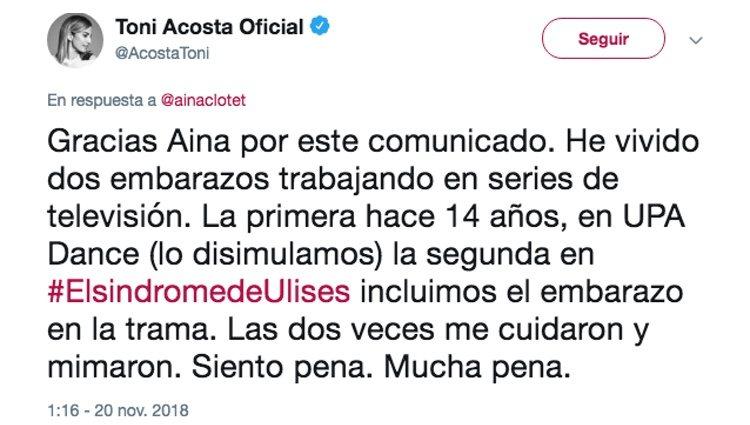La muestra de apoyo de Toni Acosta a Aina Clotet en Twitter | Foto: Twitter Toni Acosta